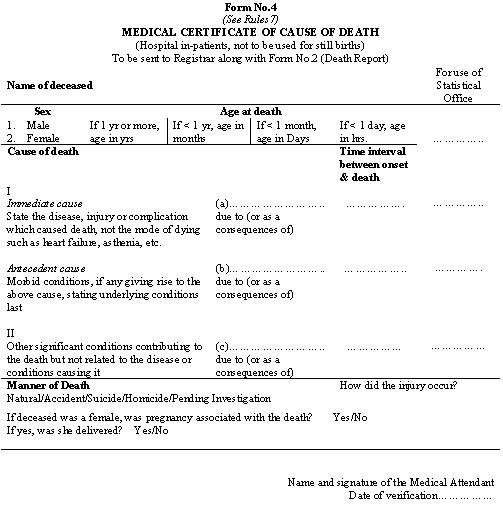Medical certification of cause of death – Medical Certificate from Doctor